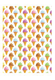 Ice cream seamless background. Seamless background with ice creams in cone vector illustration