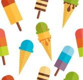 Ice Cream Seamless Pattern Background. Vector Illustration Stock Photos