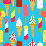 Ice cream seamless. Seamless pattern with bright colorful ice creams. Vector illustration Stock Photo