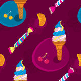 Ice Cream Seamless Pattern With Candy and Fruits Royalty Free Stock Images