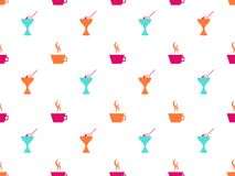 Ice cream seamless pattern, coffee mug. Icons on white background. Vector. Illustration Stock Photo