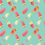 Ice cream seamless pattern, colorful summer background, delicious sweet treats Royalty Free Stock Images