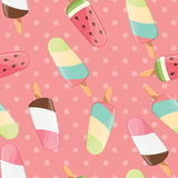 Ice cream seamless pattern, colorful summer background, delicious sweet treats Royalty Free Stock Image