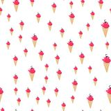 Ice cream seamless pattern, colorful summer background, delicious sweet treats, vector illustration stock photography