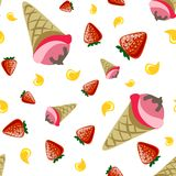 Ice cream seamless pattern. colorful pattern on white background, strawberry, summer theme stock illustration