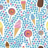 Ice cream seamless pattern Stock Photo