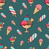 Ice-cream seamless pattern on dark background. Royalty Free Stock Image