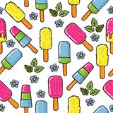 Ice-cream-12. Ice cream seamless pattern. Design element for cafe menu, textile prints or gift wrap. Hand drawn style vector illustration