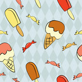 Ice cream seamless pattern Stock Images
