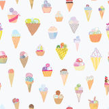 Ice cream seamless pattern funny design Stock Photography