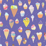 Ice cream seamless pattern - hand drawn Royalty Free Stock Photos