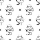Ice cream seamless pattern hand drawn sketch, background, typography design vector illustration Royalty Free Stock Image