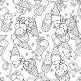 Ice cream  seamless pattern.Hand drawn  vector. Stock Images