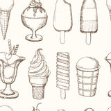 Ice cream seamless pattern Healthy diet style illustration Royalty Free Stock Photography