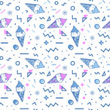 Ice cream seamless pattern in memphis style. Stock Image