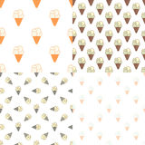 Ice cream seamless pattern in modern vintage. Design. Dessert background. Vector illustration Stock Photo