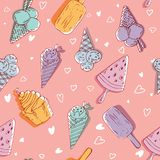 Ice-cream seamless pattern, pink background, modern backdrop, packaging, wallpaper, trendy surface. fabric print, game. sketch. vector illustration