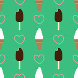 Ice cream seamless pattern. Repeating vector illustrations of ice creams. Vanilla ice cream in a wafer cup with eskimo on a stick. With hearts on green backdrop Stock Image