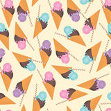Ice cream seamless pattern. Vector background, pattern with summer desserts - sorbet Stock Photo