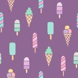 Ice cream seamless pattern. Vector hand drawn illustration Stock Photography