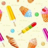 Ice-cream seamless pattern. Vector illustration. Stock Image
