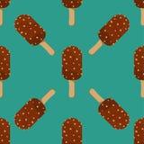 Ice Cream Seamless Pattern Vector Illustration Icon Cartoon Chocolate Dessert Sweet Cold Snack Tasty Frozen Stock Images