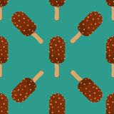 Ice cream seamless pattern vector illustration icon  cartoon chocolate dessert sweet cold snack tasty frozen Stock Images