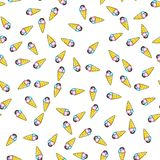 Ice cream seamless pattern on white background. Paper print design. Abstract retro vector illustration. Trendy textile, fabric, stock image