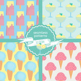Ice cream seamless patterns set in flat style Stock Photography