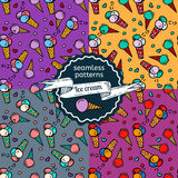 Ice-cream seamless patterns set. Royalty Free Stock Images