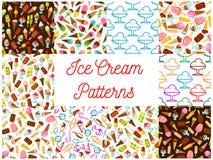 Ice cream seamless patterns. Vector pattern of dessert ice cream scoop in waffle cone, eskimo pie, slushy, frozen ice, sorbet, gelato, sundae for cafe or Stock Images