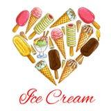 Ice cream seamless sketch pattern background. Ice cream love symbol. Vector heart shape emblem of ice cream pattern. Sketch icons of icecream eskimo pie, frozen Stock Images