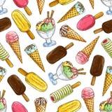 Ice cream seamless sketch pattern background. Ice cream pattern. Vector pattern of ice cream elements eskimo pie, frozen ice, sorbet, gelato, sundae, scoops in Royalty Free Stock Photos