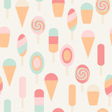 Ice cream seamless vintage pattern Royalty Free Stock Photos