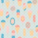 Ice cream seamless vintage pattern Stock Photos