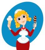 The ice-cream seller. Vector cartoon illustration Royalty Free Stock Image