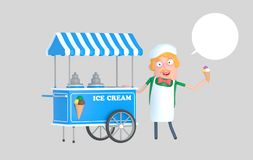 Ice cream seller in front of ice cream car. stock images