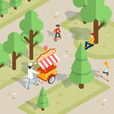Ice cream seller rolls trolley through the park. Ice cream outdoor. Ice cream seller rolls trolley through the park. Children and food, cheerful and walk and Royalty Free Stock Photography