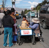 Ice cream seller in a street of La Paz, Bolivia Royalty Free Stock Image