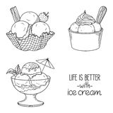 Ice cream served in bowls. Set of hand drawn ice cream served in glass, waffle and paper bowls Royalty Free Stock Photo