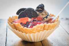 Ice cream served in waffle bowl Stock Image