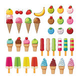 Ice cream set on background Royalty Free Stock Image