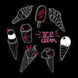 Ice Cream Set Black Stock Photos