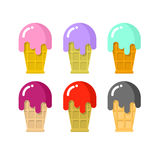 Ice cream set. Cold dairy delicacy in waffle Cup. Different flav. Ors of ice cream. Strawberry and Peppermint ice cream. Tastes blackcurrant and cherry. Cold Stock Photo