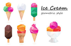 Ice cream set, colorful, assorted. Geometric style, vector Royalty Free Stock Photo