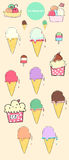 Ice cream set. Ice cream cone , ice cream cup vector set. You can utilize to make ice cream shop logo or anything that you want Stock Photo
