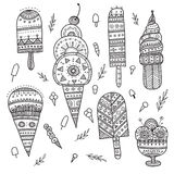 Ice cream set in ethnic ornate boho style. Stock Photography