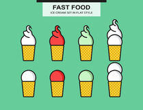 Ice cream set in flat style Royalty Free Stock Image