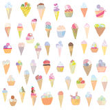 Ice cream set funny design - hand drawn Stock Photos