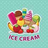 Ice cream set. On green background Royalty Free Stock Photography